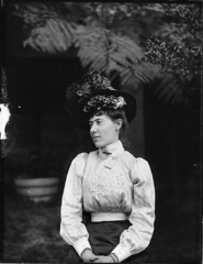 Portrait of woman in Edwardian dress (Powerhouse Museum Collection) Tags: portrait blackandwhite woman hat lady female clothing model museu bokeh lace retrato colonial feathers historic bust ferns bun powerhousemuseum millinery womensday updo womansitting puffysleeves glassplatenegative xmlns:dc=httppurlorgdcelements11 edwardianl dc:identifier=httpwwwpowerhousemuseumcomcollectiondatabaseirn385750 negativodevidro