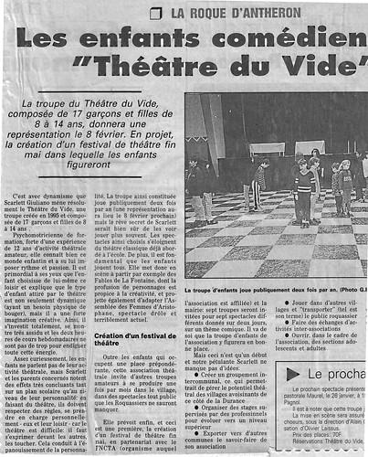 Les enfants comédiens du Théâtre du Vide