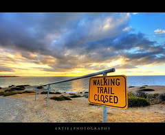 Walking Trail Closed (II) :: HDR (Artie | Photography :: I'm a lazy boy :)) Tags: road sunset sea sky cliff beach nature water sign clouds photoshop canon cs2 cloudy path walk australia wideangle route trail signage handheld adelaide grasses 1020mm southaustralia hdr slope artie aldinga 3xp sigmalens photomatix tonemapping tonemap aldingabeach 400d rebelxti walkingtrailclosed