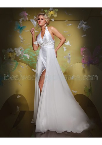 Satin Halter Neckline A-Line Dress with Rouched Waistband and Beaded Inset Accents and Satin Underskirt with Slit and Chiffon Back Skirt 2011 Hot Sell Prom Dress P-0270