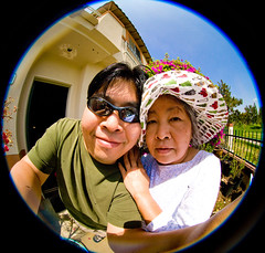 Year 2 ~ Day 13: Happy Mother's Day! (arkworld) Tags: family me garden mom mother son fisheye pete 365 8mm mymom mothersday peleng happymothersday 365days moodgood pelengfisheye 365year2 thecameraisabout6inchesfromourface