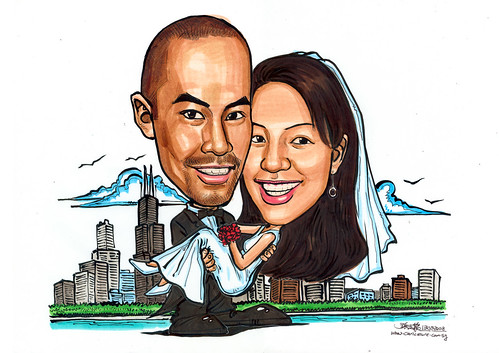 Caricatures couple wedding @ Chicago A4