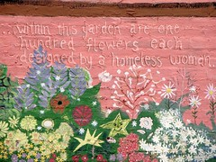 painted wall flowers (Zombie37) Tags: city pink flowers urban plants detail smiling wall closeup garden star community women mural painted homeless baltimore handpainted mtvernon decorated mysistersgarden