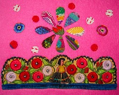 Lady in the Flowers Fabric Collage (lachapina) Tags: pink hot floral recycled handmade guatemala crafts textiles guatemalan huipil