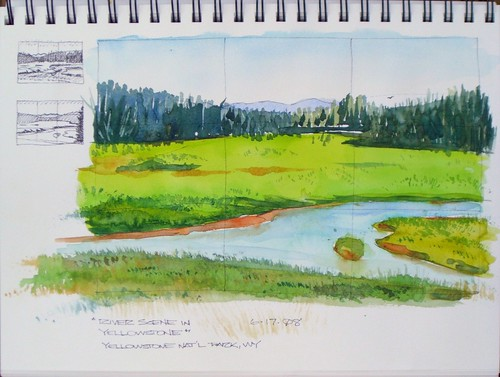 Watercolor Sketch - River Scene in Yellowstone
