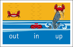 Tarjeta verano 2008 - Out In Up - CANGREJO (Heart Industry) Tags: beach design shark graphic humor crab playa verano diseo vector grfico postales cangrejo tiburn outinup