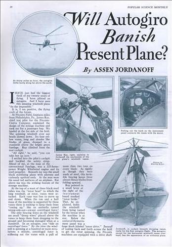 Will Autogiro Banish Present Plane?