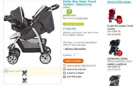 Mothercare product pages