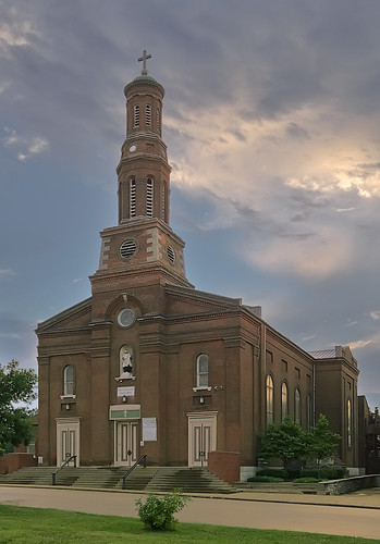 Saint Vincent de Paul Roman Catholic Church, in Saint Louis, Missouri, USA - exterior at sunset