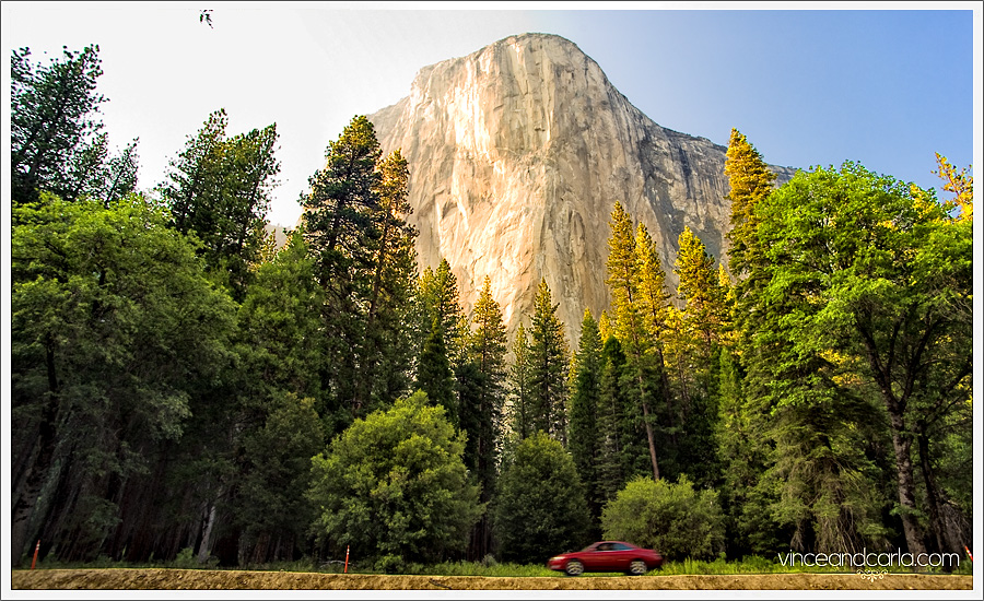 yosemite national park meadow granite mountain surreal car nature auto woods
