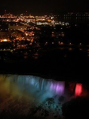 Niagara Falls and city lights at night