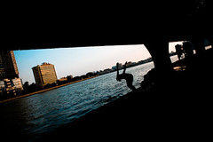 Fancy a swim? (morf*) Tags: guangzhou china silhouette swimming river flickr diving guangdong pearl