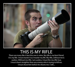 """This is my rifle..."" (Paul Vallejo) Tags: fullmetalidiot lseries crazy canon 40d 100400mm biglens disturbed thisismyrifle riflemanscreed usmarineriflecreed majorgeneral williamhrupertus wwii 1943 parody motivational"