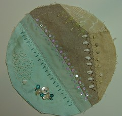PC embellishment complete (ivoryblushroses) Tags: sea shells beach beads aqua linen embroidery embellishment pincushion crazyquilt