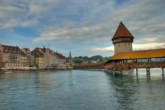 View of water tower on Lake Lucerne (skinnydiver) Tags: switzerland watertower lucerne hdr chapelbridge kapellbrcke