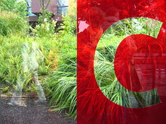 C (Gabri Le Cabri) Tags: red woman white selfportrait paris reflection green me glass museum garden sticker c letter 75007 transparent pane oneletter quaibranly museduquaibranly paris7 flytox