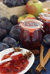Plum-Apple Jam (1/3) (Thorsten (TK)) Tags: blue winter red food white apple yellow breakfast sweet cinnamon plum sugar jar jam plums fruity jams preserves cloves anise stonefruit marmelade foodphotography staranise cinnamonsticks foodpresentation konfitre winterly foodstyling preservingjars thorstenkraska germanfoodphotography