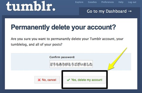 "Tumblr ""Permanently delete your account?"""