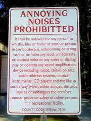 Annoying Noises Prohibitted [sic]