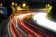 Motorway Lightstreaks (AreKev) Tags: uk longexposure light england night bristol motorway photobook trails panasonic explore streams m32 hambrook dmcfz18 panasonicdmcfz18
