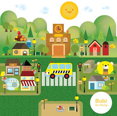 School Area (Bubi Au Yeung) Tags: school green car illustration work print kid graphic scene area environment illustrator portfolio schoolbus vector adobeillustrator cmyk cmmunity