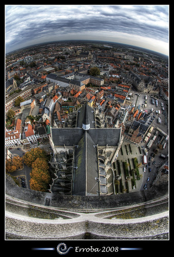 View from St Rumbolds Tower over the city of Mechelen, Belgium :: HDR :: Fisheye by Erroba