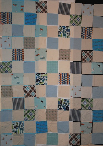 Baby Boy quilt top on design wall