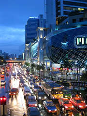 Traffic at Bangkok (papaija2008) Tags: city travel blue sky urban rain canon landscape thailand evening asia traffic dusk bangkok south east ixus mbk ruuhka thaimaa platinumheartaward earthasia worldtrekker placesyouvisit totallythailand