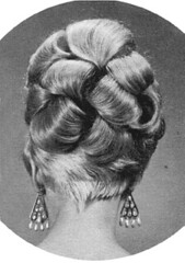037 - Blonde Gran Prix Back (Sydney Michelle) Tags: hair bob hairdo curls fringe pearls petal blond blonde earrings 1960s bang hairstyle sixties coif coiffure nape mrray hifashion