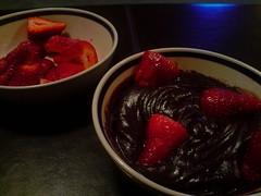 Deceptive Chocolate Pudding w/ Delicious Ripe Strawberries