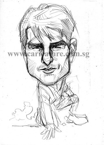 Celebrity caricatures - Tom Cruise pencil sketch watermark