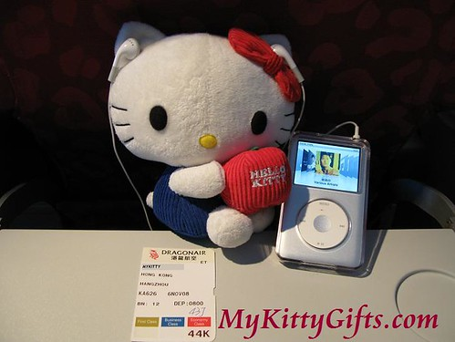 Hello Kitty listening to iPod in Cathay Pacific Airlines