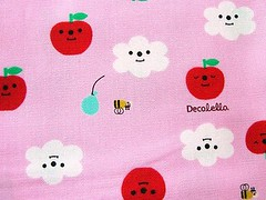 Cute Japanese Cotton Fabric-Decole-Decolello-Smiling Apple And Clouds-1 Yard (F123) (kawaii_fabric_and_paper) Tags: pink cloud apple japan japanese quilt sewing balloon bee fabric cotton needle commercial kawaii supplies decole decolello