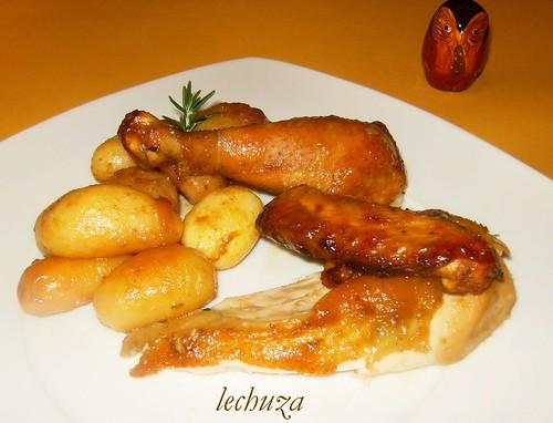 Pollo con miel-plato bien