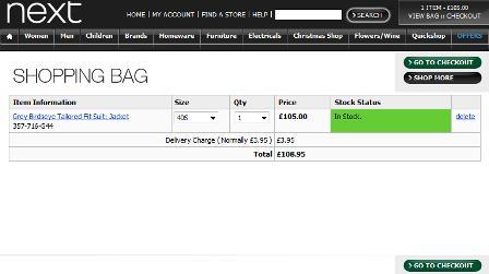 Next shopping bag - 'shop more' link
