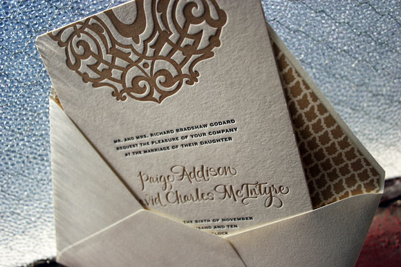 Letterpress wedding invitations by Smock: Lashar design