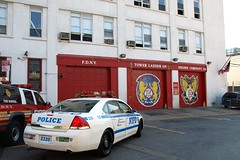 E211s Fire Marshal SUV & NYPD Police Car at FDNY Firehouse Engine 211 & Ladder 119, Williamsburg, Brooklyn, New York City (jag9889) Tags: county city nyc blue house ny newyork building tower chevrolet car station architecture brooklyn truck fire automobile engine police nypd victory company kings chevy transportation cop williamsburg vehicle borough ladder impala firehouse suv marshal 2008 fdny department firefighters officer lawenforcement finest 119 211 bravest fsd firstresponders newyorkcitypolicedepartment ladder119 engine211 e211 y2008 thetowerofpower jag9889