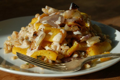 Roasted Delicata Squash Salad With Red Onions & Farro