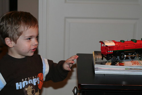 Walker admiring the engine