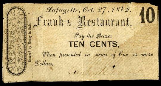 Lafayette - Franks Restaurant $0.10 Smythe272 lot 3647