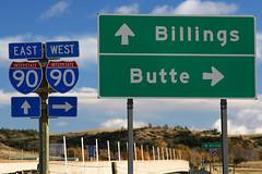 I-90, Montana (Martin Third) Tags: road usa sign america highway montana butte unitedstates unitedstatesofamerica roadtrip canoneos20d direction northamerica roadsign interstate signpost billings sweetgrass bigtimber sweetgrasscounty
