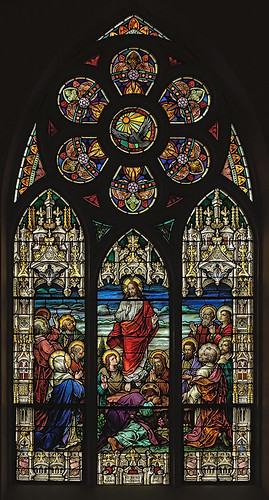 Saint Bernard Roman Catholic Church, in Albers, Illinois, USA - stained glass window of the Ascension