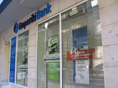 Emporiki Bank (Tilemahos Efthimiadis) Tags: window display rally hellas bank athens greece 100views damage 200views riots 50views anarchists   griots   skoufa   emporiki  greekriots      address:city=athens address:country=greece
