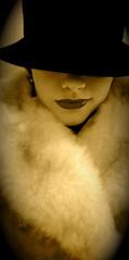 Where Have the Days of Glamour Gone (Jade M. Sheldon) Tags: selfportrait me hat sepia self vintage portland glamour coat lips jade sp smirk jademsheldon