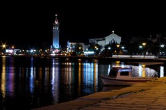 Color Temperature (rab36) Tags: longexposure travel color tower church water colors night reflections lights boat harbour streetlights urlaub greece lamps temperature griechenland zakynthos reflektion nachtaufnahme langebelichtung nightimage