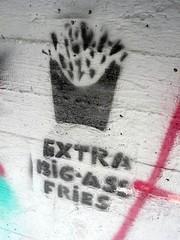 Extra Big-Ass Fries (Mayu ;P) Tags: street streetart art graffiti stencil tallinn estonia mcdonalds potato fries 2009