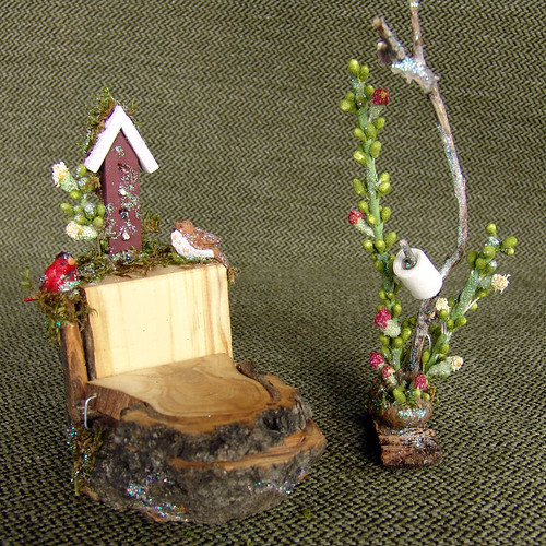 Miniature Fairy Toilet with Birdhouse and Birds for Real Fairies
