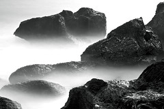 Sonoma Beach, Jenner, CAB&W Rock Forms (gosseti) Tags: ocean california bw white mist abstract black detail beach water canon coast rocks exposure waves natural pacific tide sonoma rocky vivid minimal sharp formation crisp coastal filter edge 7d fade features splash transfer 1740mm jenner density chilled neutral gradual f40l silverefex 110nd