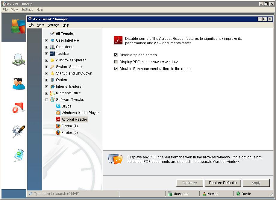 AVG Tweak Manager - Acrobat Reader Optimization