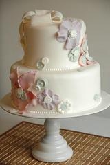 Patchwork Petals (Capulet Cake Company) Tags: flowers white cake buttons fabric bow fondant gumpaste